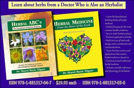 Photo of two herb books written by Dr. Sharol Tilgner