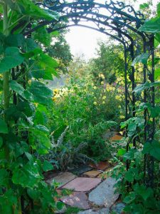 A photo of an archway leading into a beautiful herb garden.