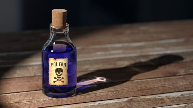 Bottle of toxic liquid.
