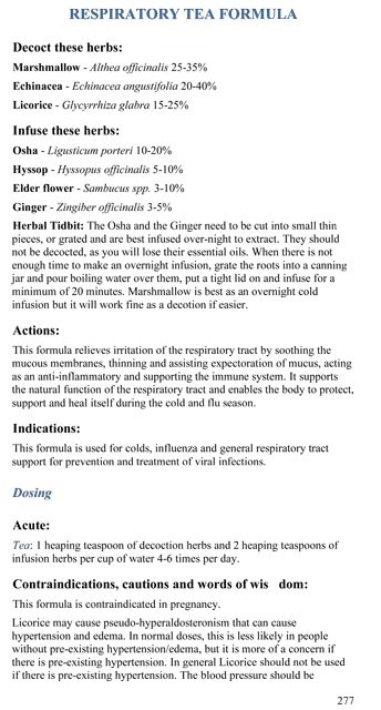 Respiratory Tea Formula p.277