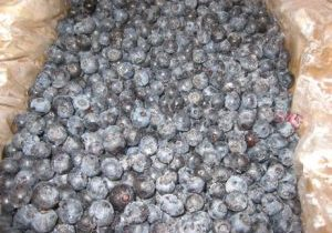 A box of frozen blueberries.