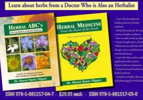 Photo of two herb books written by Dr. Sharol Tilgner