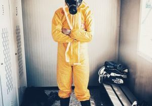 Photo of gas mask and suit.